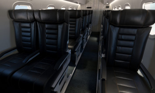 new united goderich - airplane aisle of black leather seats