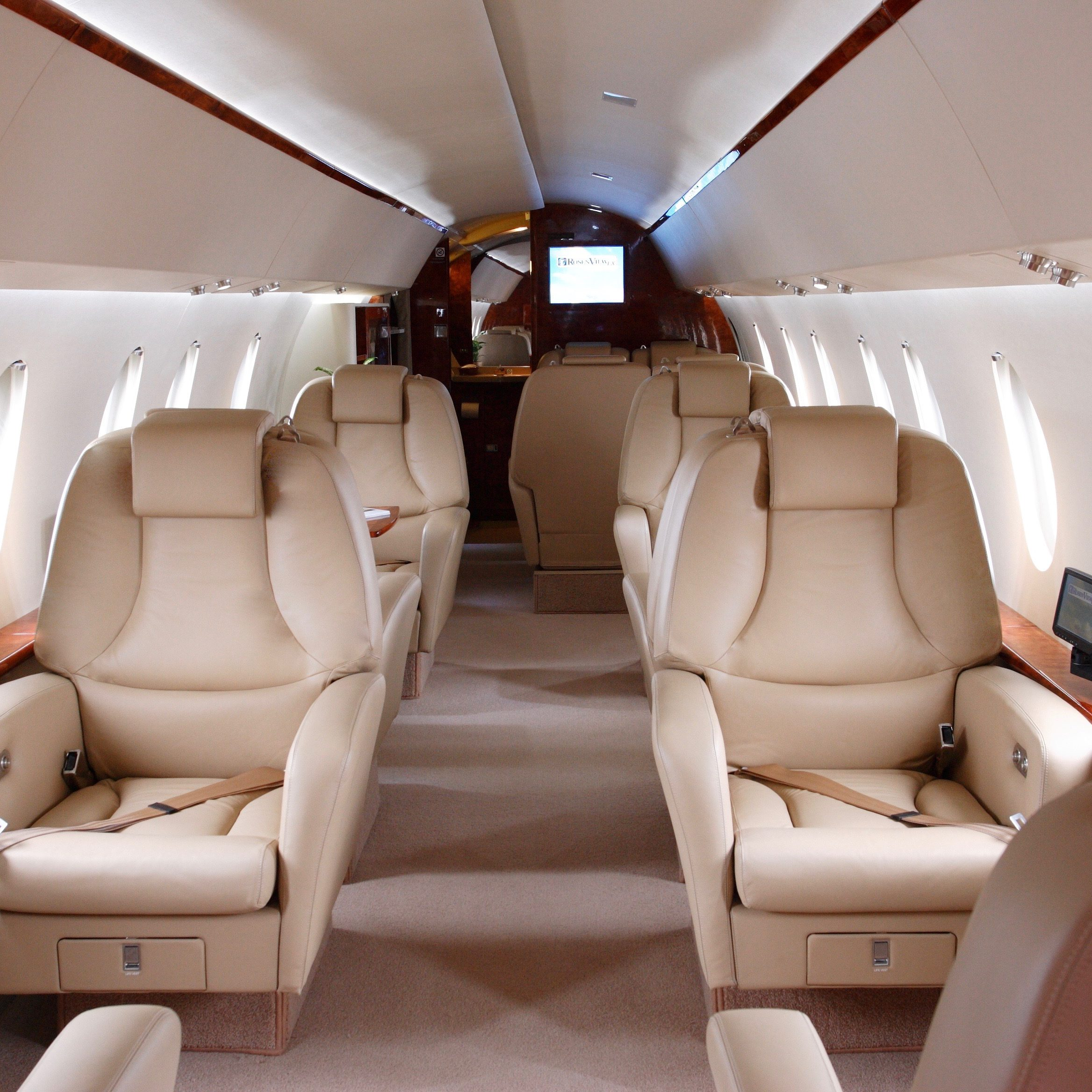 brown interior of business jet aircraft