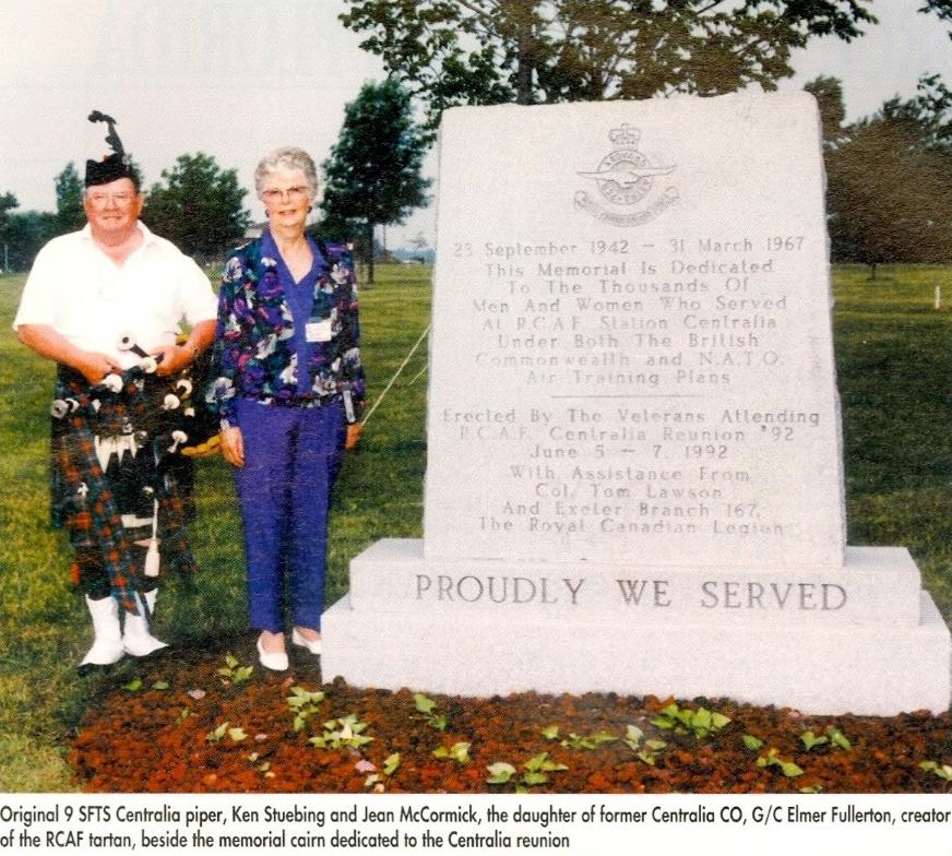 SFTS Centralia Piper and daughter of Elmer Fullerton beside Centralia memorial