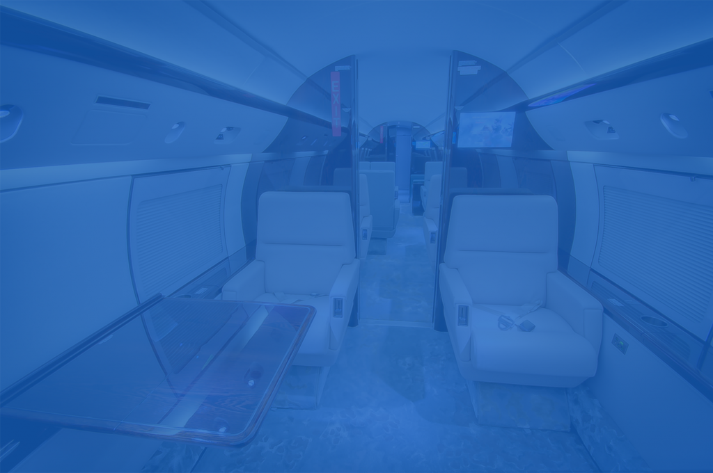 interior of refurbished aircraft with blue color overlay