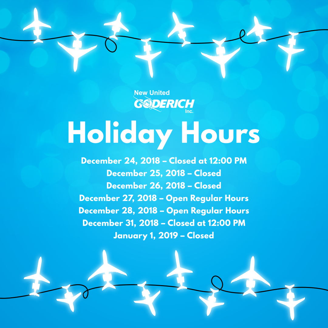 holiday hours graphic with airplane lights