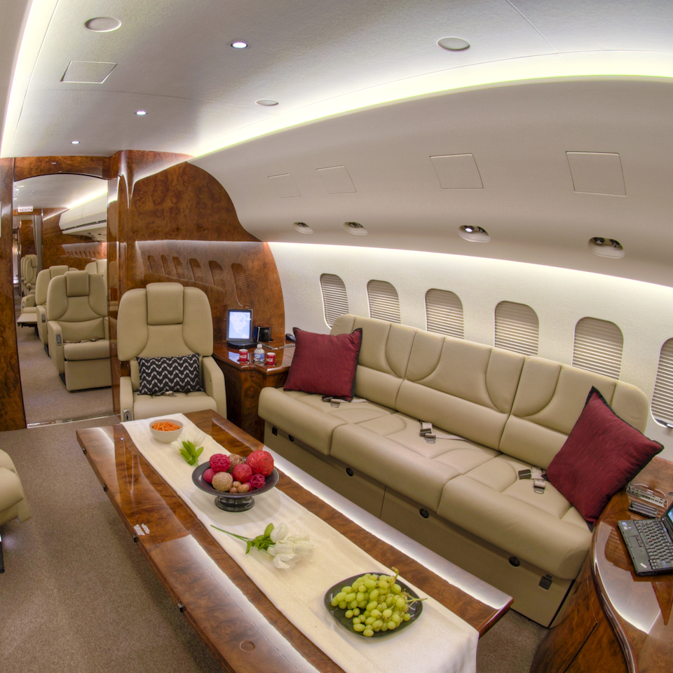 brown interior of MD business jet aircraft